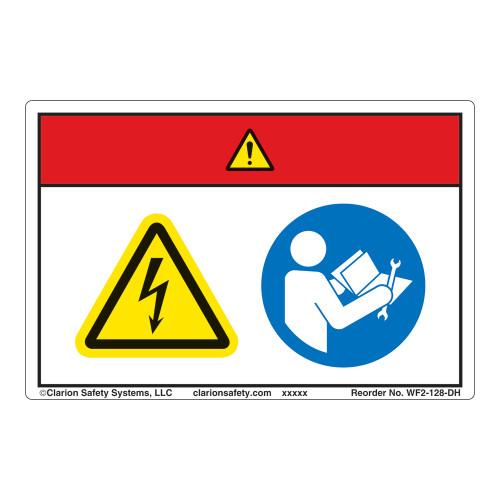 Danger/Hazardous Voltage Label (WF2-128-DH)