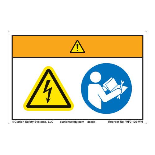 Warning/Hazardous Voltage Label (WF2-129-WH)