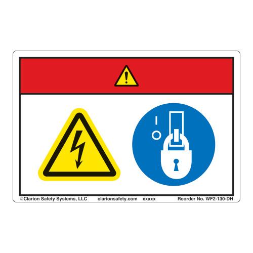 Danger/Hazardous Voltage Label (WF2-130-DH)