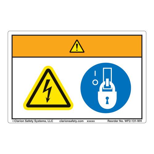 Warning/Hazardous Voltage Label (WF2-131-WH)