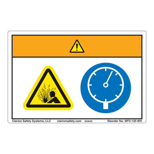 Warning/Pressurized Device Label (WF2-135-WH)