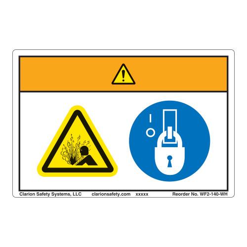 Warning/Pressurized Device Label (WF2-140-WH)