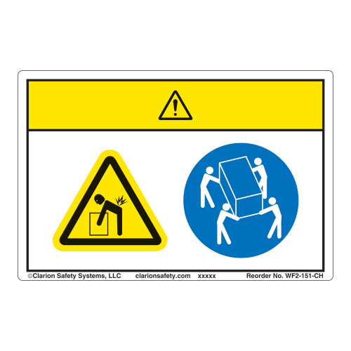 Caution/Lift Hazard Label (WF2-151-CH)