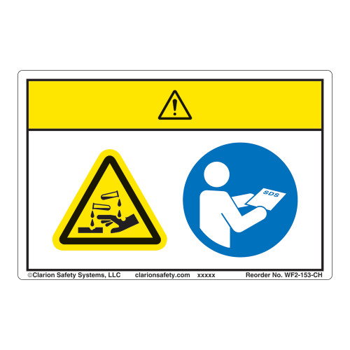 Caution/Chemical Hazard Label (WF2-153-CH)