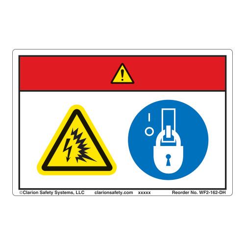 Danger/Arc Flash and Shock Hazards Label (WF2-162-DH)