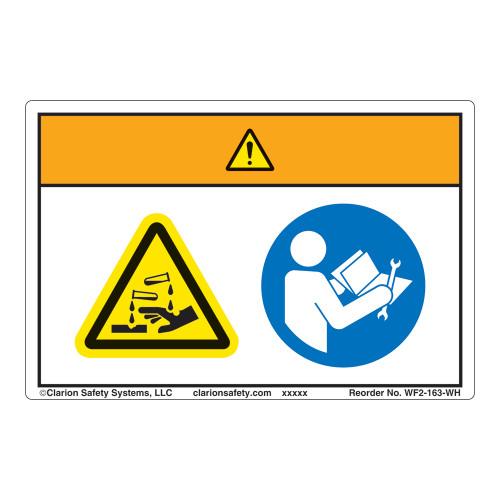 Warning/Chemical Hazard Label (WF2-163-WH)