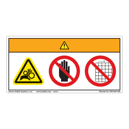 Warning/Entanglement Hazard Label (WF3-001-WH)