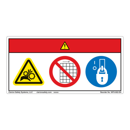 Danger/Entanglement Hazard Label (WF3-002-DH)