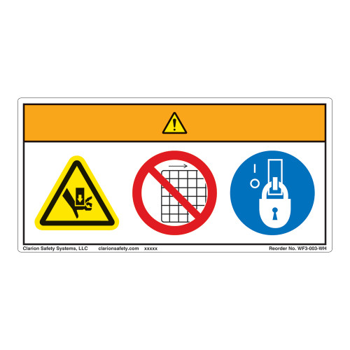 Warning/Crush Hazard Label (WF3-003-WH)