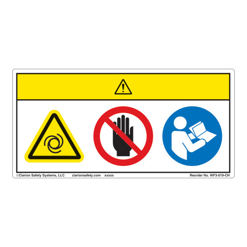 Caution/Equipment Starts Automatically Label (WF3-019-CH)