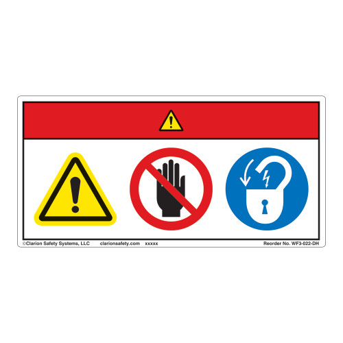 Danger/Equipment Starts Automatically/Stay Clear Label (WF3-022-DH)
