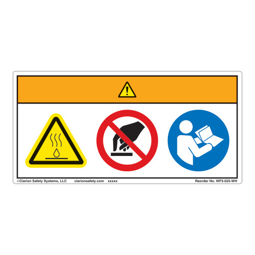Warning/Boiling Water or Steam Label (WF3-025-WH)