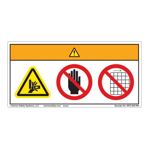 Warning/Crush Hazard Label (WF3-038-WH)