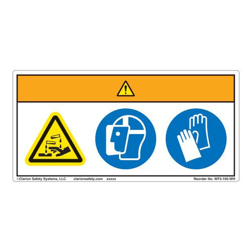 Warning/Chemical Hazard Label (WF3-105-WH)