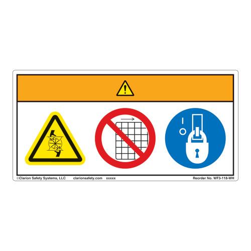 Warning/Rotating Blade Label (WF3-118-WH)