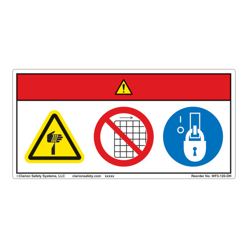 Danger/Cut Hazard Label (WF3-120-DH)
