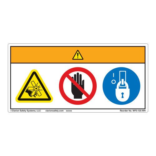 Warning/Rotating Blade Label (WF3-125-WH)