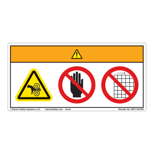 Warning/Crush Hazard Label (WF3-140-WH)