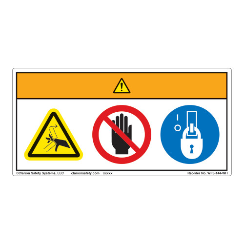 Warning/Pinch Point Label (WF3-144-WH)