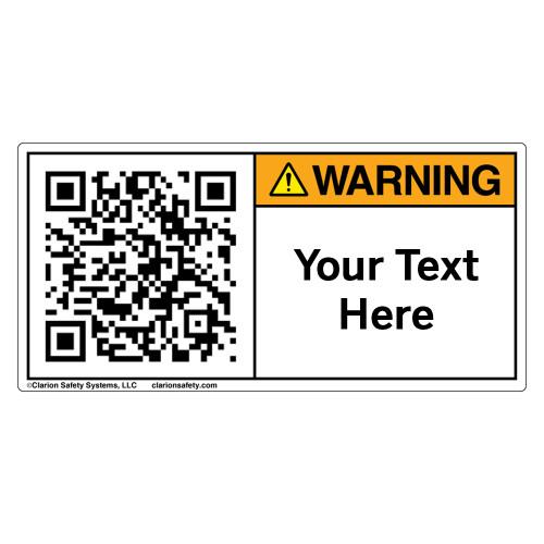 Custom QR Code Label - Warning