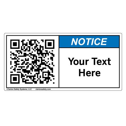Custom QR Code Label - Notice