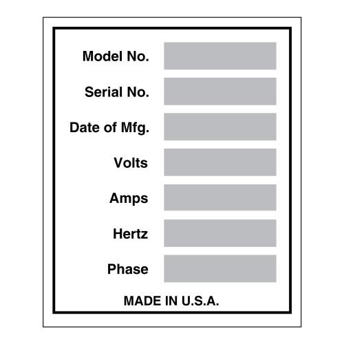 Data Plate Label (DP-)
