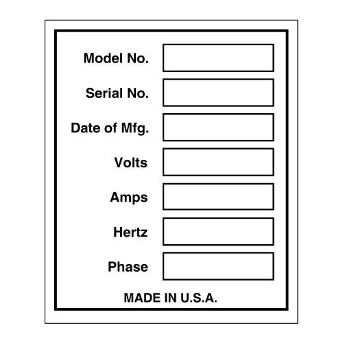 Custom Dataplate