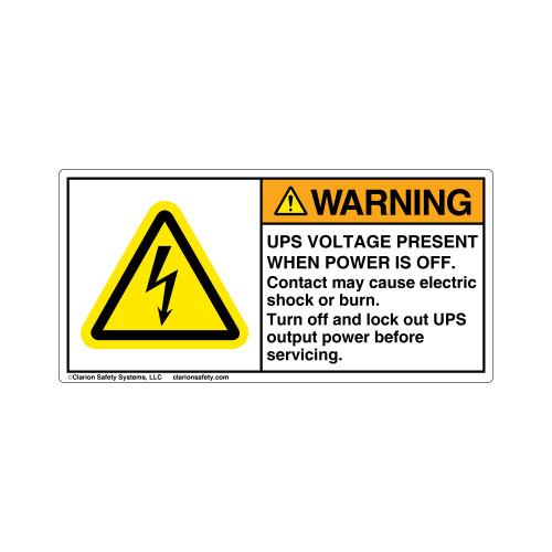 Warning/UPS Voltage Present Label (H6010-MUWH)