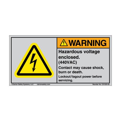 Warning/Hazardous Voltage Enclosed (C21223-02)