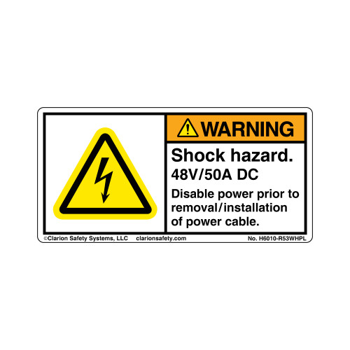 Warning/Shock Hazard.  48V/50A (H6010-R53WHPL)
