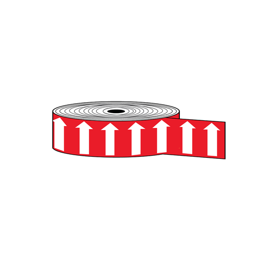 """Arrow Banding Tape 2"""" x 30yd White on Red (ABT-2-WR)"""