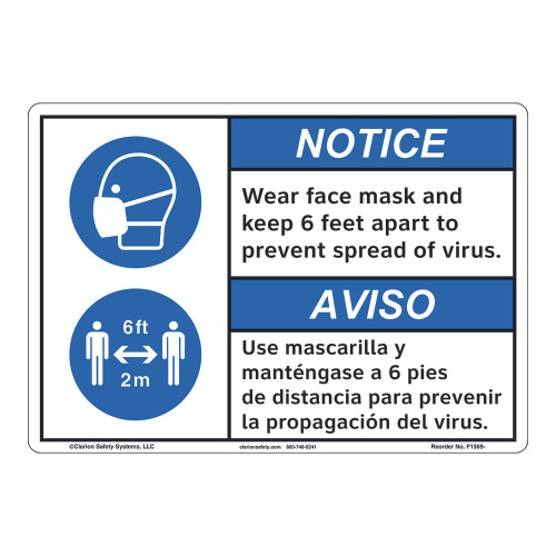 Notice/Face Mask/6 ft Apart (F1369-)