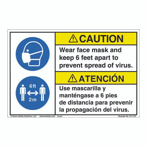 Caution/Face Mask/6 ft Apart (FL1116-)