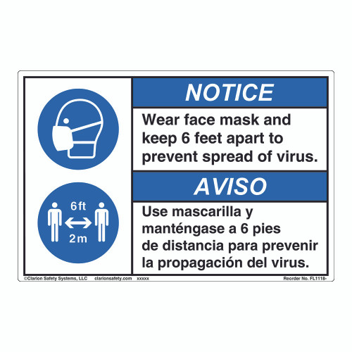 Notice/Face Mask/6 ft Apart (FL1118-)