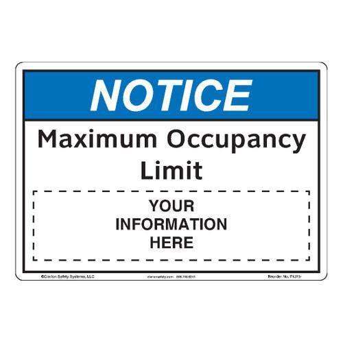 Notice/Maximum Occupancy Limit (F1375-)