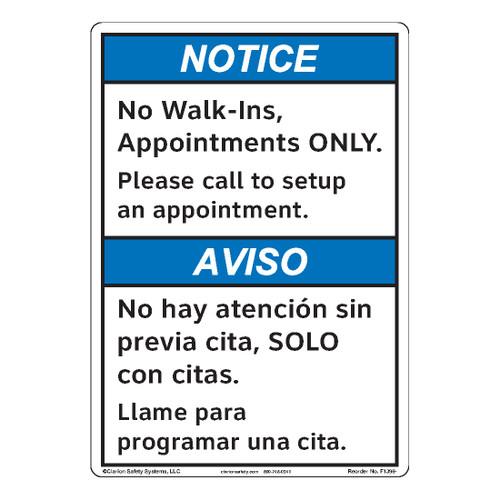 Notice/No Walk Ins (F1396-)