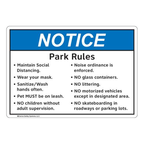 Notice/Park Area Rules (FL1130-)
