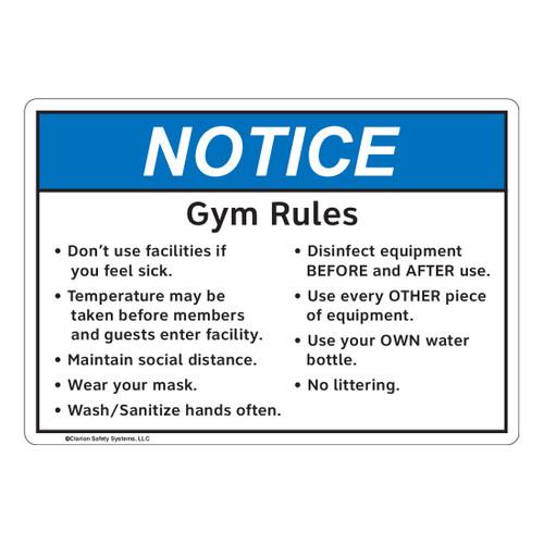 Notice/Gym Rules (FL1134-)