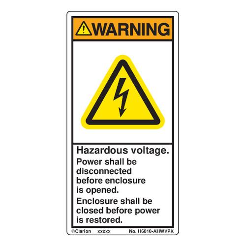 Warning/Hazardous Voltage (H6010-AHWVPK)