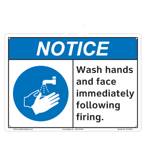 Notice/Wash Hands and Face Immediately (C27109-05)