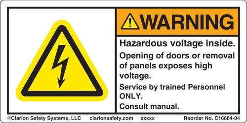 Warning/Hazardous Voltage Inside (C16664-04)