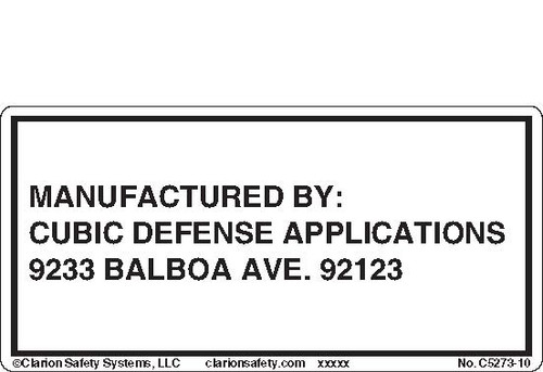 Manufactured By: Cubic Defense Applications (C5273-10)