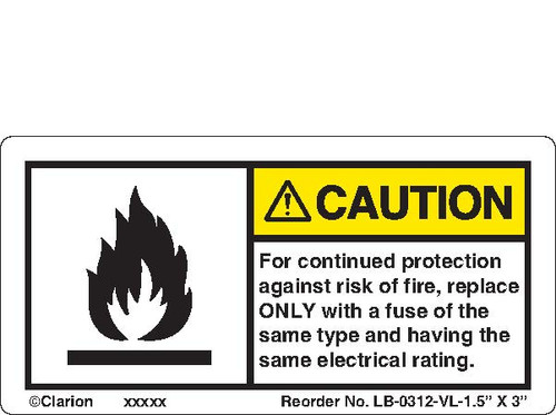 """Caution/For Continued Protection ( LB-0312-VL-1.5"""" X 3"""")"""