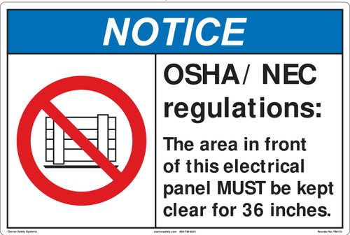 Notice/OSHA/NEC regulations Marker (FM172-)
