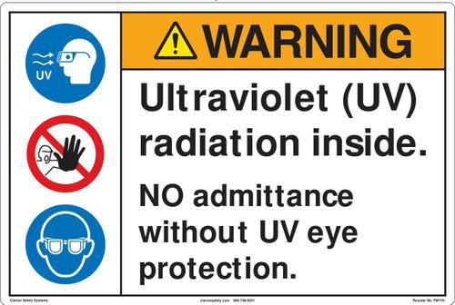 Warning/Ultraviolet (UV) radiation inside. NO admittance without UV eye protection. (FM176-)