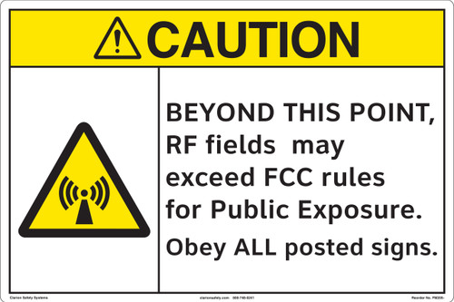 CAUTION/BEYOND THIS POINT RF FIELDS may exceed (FM205-)