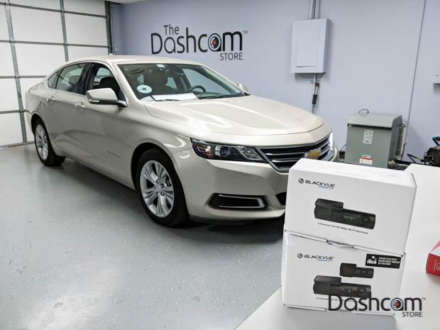 BlackVue DR590W-2CH-IR dashcam installed in a Chevy Impala