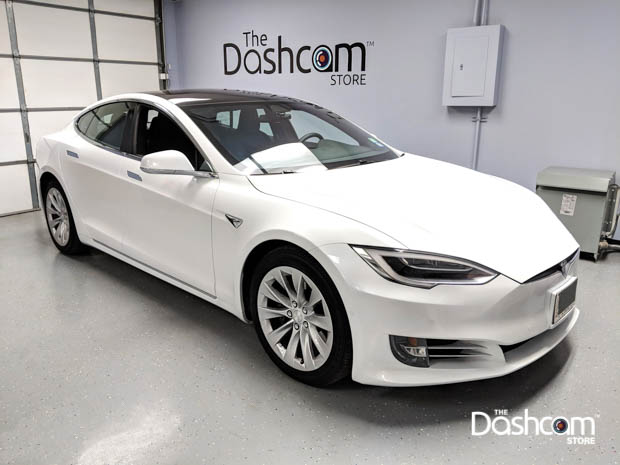 BlackVue DR900S-2CH dashcam installed in a 2018 Tesla Model S