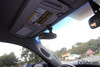 Slip-on visor mount for dashcams with threaded mounts | In-car example photo with DVR-207GS dash cam passenger's side view