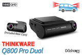 Thinkware Q800 Pro Dash Cam | Quad HD 1440p Front and Rear-Facing Black Box